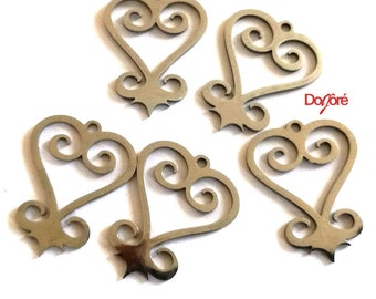 Pack of 5 Silver Colour Sankofa Heart Charms. 26mm x 20mm Stainless Steel Adinkra Jewellery Pendants