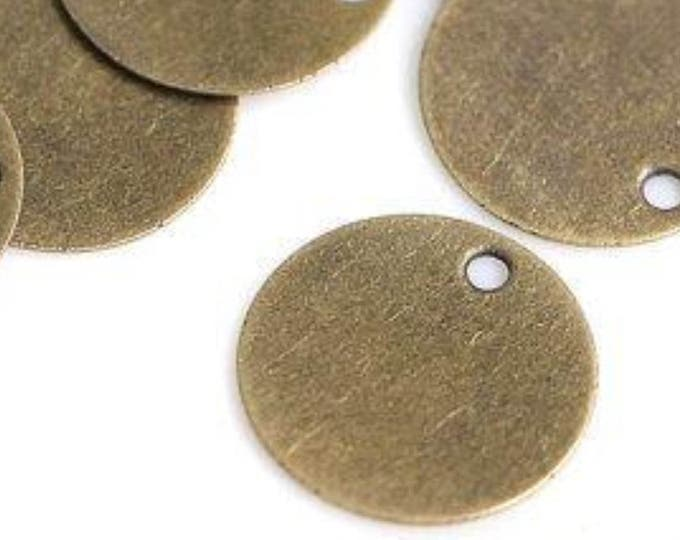 Pack of 50 Mini Bronze Discs. 10mm Stamping Circle Tags.  Engraving Charms and Pendants.