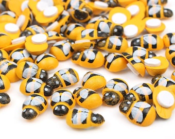 Yellow Wood Bumble Bee Stickers. Easter Holidays Scrapbook Wooden Embellishments. Nature Theme.