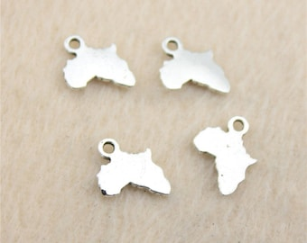 50 x Tibetan Silver Africa Charms ( 10mm x 13mm ) Alkebulan, The Motherland, Roots, Culture. Perfect for Bracelets, Earrings & Necklaces.