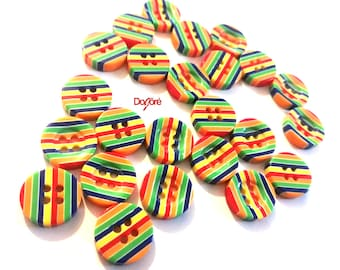 Pack of 50 Mini Round and Flat Rainbow Stripe Resin 12mm Coat Buttons. PRIDE LGBT
