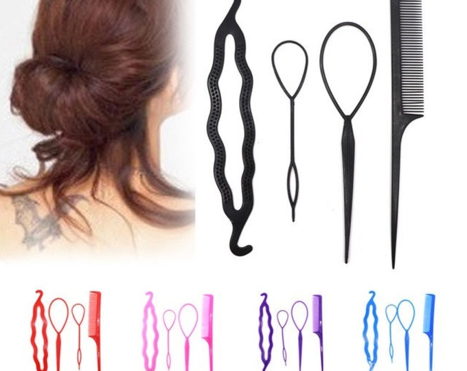 Set of 4 Hair Styling Tools. Plastic Comb, Bun Shaper and Hair Twist. Different Colours Available.