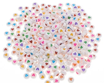 Pack of 300 White & Assorted Round Acrylic Heart Beads. 7mm x 3mm Assorted Colours Plastic Spacers