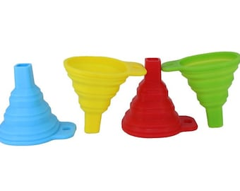 One Piece Collapsible Silicone Funnel. Foldable Plastic Pouring Tool for Filling Jars, Atomizers, Diffusers, Perfume Bottles & Salt Grinders