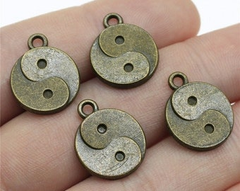 CLEARANCE Pack of 50 Bronze or Silver Colour Yin and Yang Charms. 17mm x 14mm Chinese Pendants