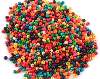 Pack of 200 Assorted Colours Round Wooden Beads. Small 6mm Natural Wood Spacers