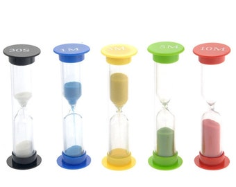 Pack of 5 Sandglass Timer Clock. 5 Different Times Hourglass Sand Timer  Egg Timer Countdown.