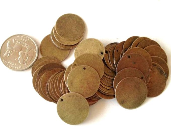 Pack of 50 Bronze Circle Tags.  20mm Tarnished Stamping Tags.