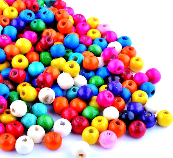 10 Options Colour Acrylic Round Beads 100 x 8mm or 200 x 6mm