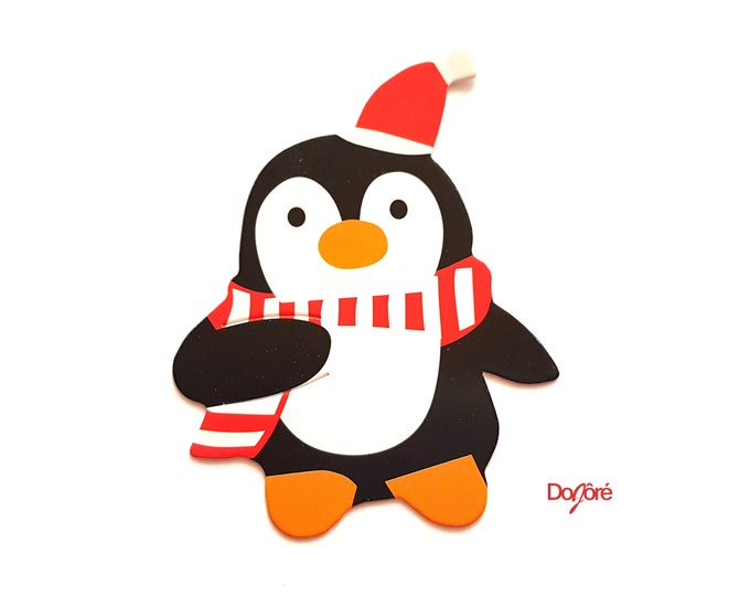 Pack of 50 Xmas Paper Penguin or Santa Claus Cards. Christmas Nature Theme Scrapbooking Embellishments
