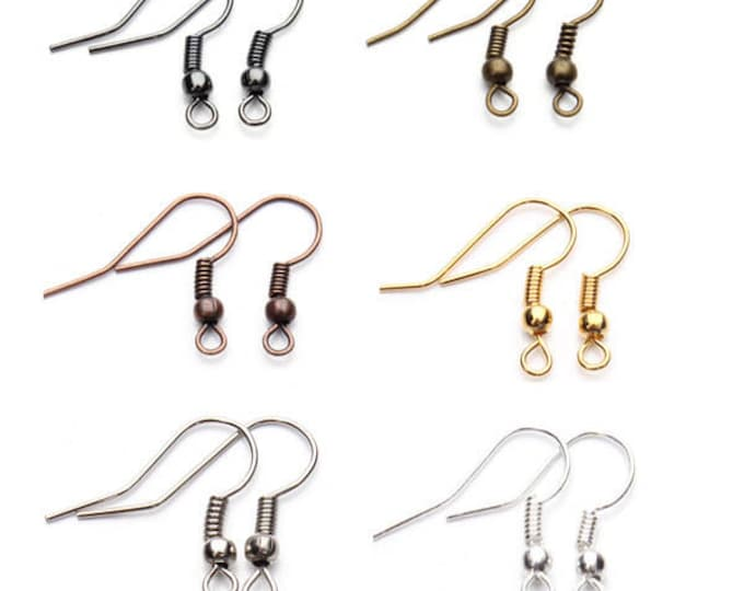 Pack of 100 Earrings Wire. Different Colours Ear Fish Hooks.
