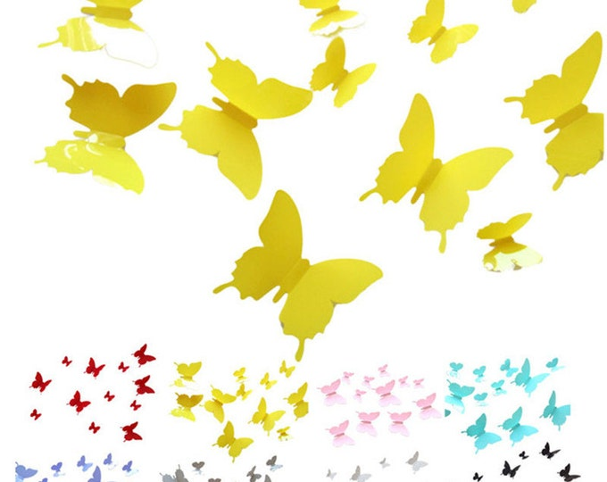 Pack of 10 3D Butterfly Wall Decals. Different Colours. Room Decor.