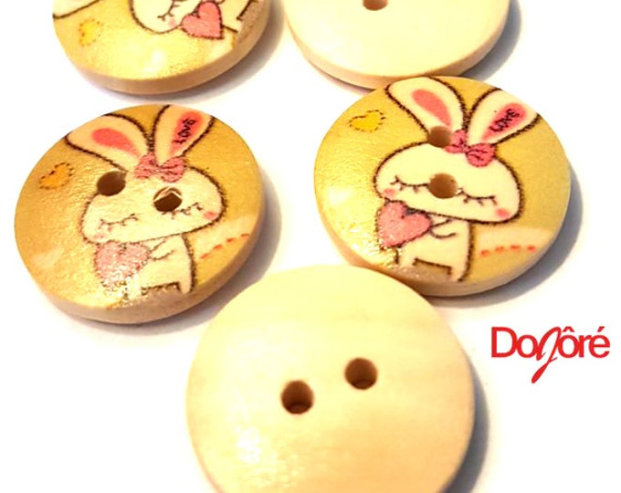 Pack of 50 Round Pale Green Wooden Bunny Buttons. 18mm Round Rabbit Animal Love Theme