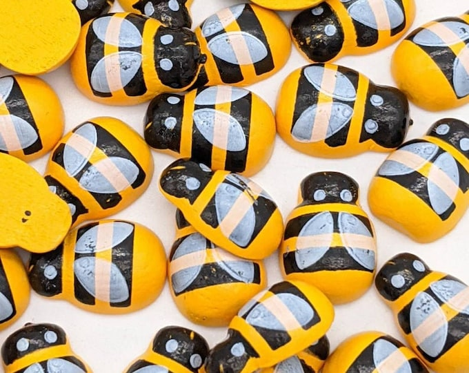 Pack of 100 Yellow Wood Bumble Bees. Flat Back. NO STICKERS! Wooden Embellishments