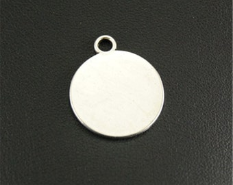 Pack of 20 Mini Silver Colour Discs. 20mm Round Blank Stamping Circle Tags. Engraving Metal Charms