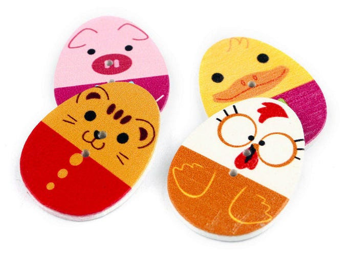 Pack of 50 Oval Assorted Mix of Colours Wooden Easter Egg Buttons. Cute Animal Faces.