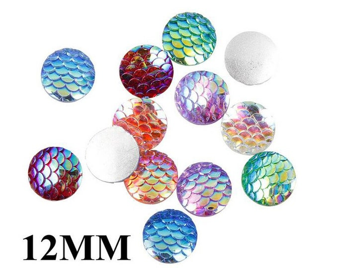 Pack of 100 Fish Scales Flat back Cabochons. Different Colours. 12mm Mermaid Dragon Faux Gems