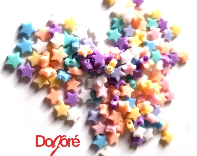 Pack of 200 Assorted Colours Pastel Acrylic Star Beads. 10mm Mini Spacers