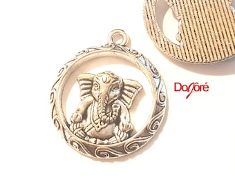 Pack of 5 Silver Colour Round Ganesha Charms. 25mm Elephant Pendants. God of Beginnings