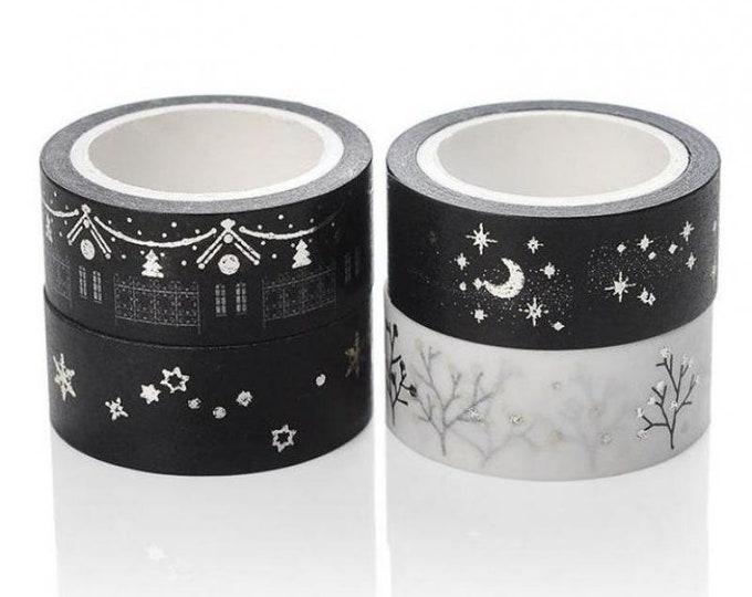 Pack of 10 Mini Christmas Washi Tape. Xmas Decorative Ribbon. Black or White. Different Styles.
