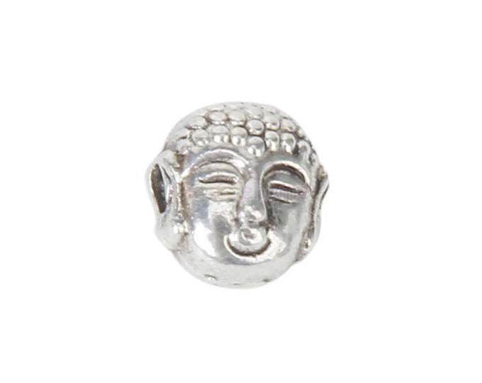 CLEARANCE Pack of 60 Silver Coloured Metal Buddha Charms. 6mm Spacer Beads Meditation Pendants