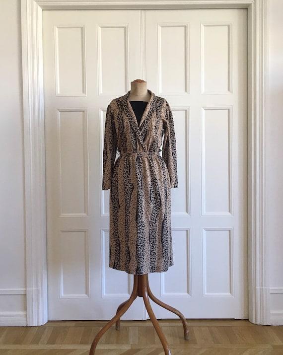 80s leopard secretary dress