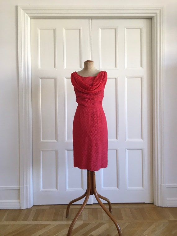 Red 50s cocktail wiggle dress