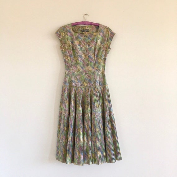 Perfect 40s dress / multicoloured pleated 40s dres