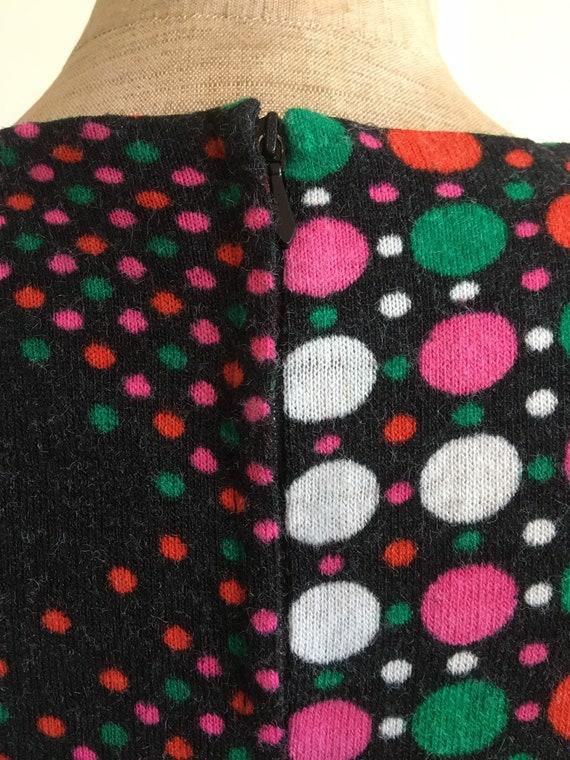 70s boho wool polkadot dress - image 5