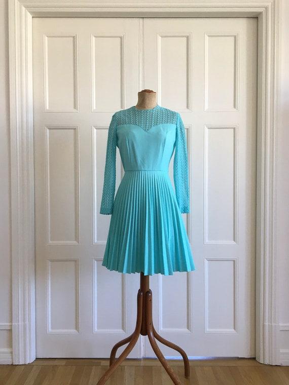60s turquoise eyelet Montgomery Ward skater dress