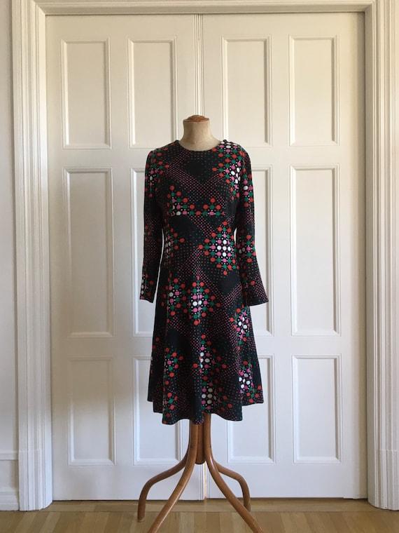 70s boho wool polkadot dress