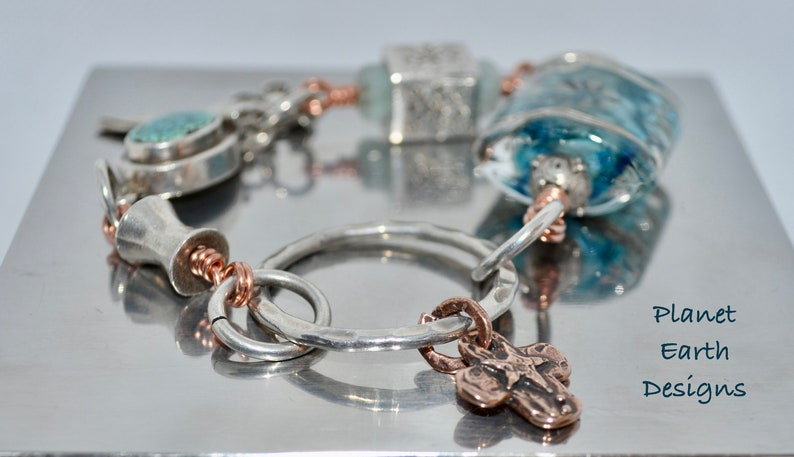 Turquoise Box Clasp Closure Artisan Lampwork Bead Bracelet Sterling Silver and Copper Bracelet Hills Tribe Silver Cube Bead Bracelet