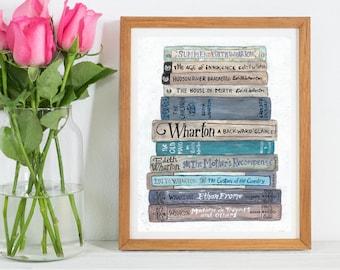Edith Wharton Bookstack DIGITAL DOWNLOAD - Literary Art Print