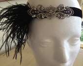 Art Deco Flapper Headband, feather headpiece, Great Gatsby headband, 1920s Silver flapper dress 20s party, Gray or White Ostrich Feathers