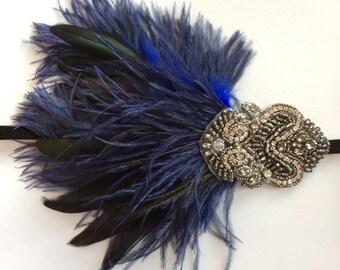 Bleu marine foncé gris perlé robe ceinture années 1920 Flapper Prom grand Gatsby Vtg 2501