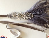 Gray Feather Headband, 1920s Silver Flapper headpiece, Great Gatsby ostrich feathers fascinator, Black beaded dress hair accessory, custom
