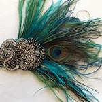 Peacock feather headband, Great Gatsby Ostrich feathers fascinator teal Hunter green blue peacock hues mixed rhinestone, Stretch Elastic