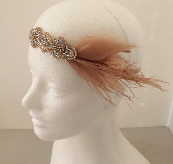 Black Satin Charleston Flapper Headband with Feather and Jewel