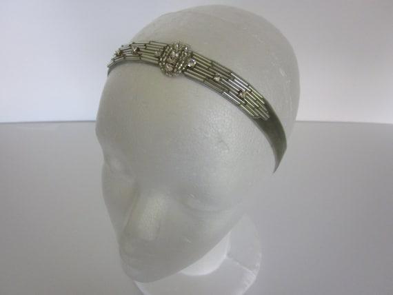 Silver Art Deco Headpiece 1920 Crystal Fascinator Great Gatsby Fascinator Gold Deco Headband Elastic Hair Accessories Sage Green Velvet