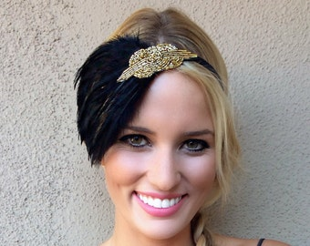 Black feather headpiece Gold beaded fascinator black Art Deco  flapper headband, Great Gatsby headband, 1920s dress, 1920s feather headband