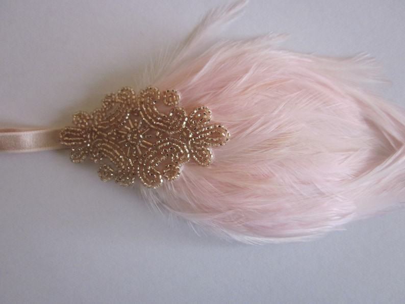Flapper Dress fascinator Headpiece Great Gatsby Dress headband champagne beige 1920s feather beaded accessory 1920 Cream Ivory Fascinator