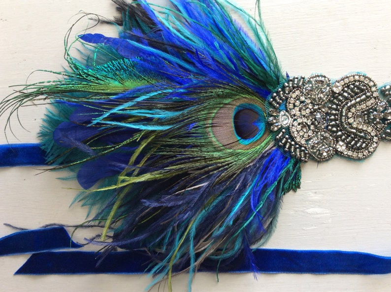 c2357745055 BLUE peacock feather headpiece great gatsby headband 1920s