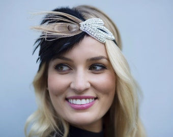 1920's Rhinestone Headband, great Gatsby headband,  black Flapper, Wedding Headband, Bridal, Ribbon, Great Gatsby, Rhinestone Headband,