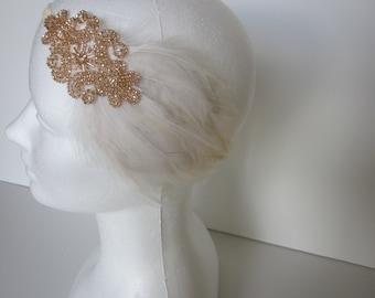Flapper Dress fascinator Headpiece Great Gatsby Dress headband, champagne beige 1920s feather beaded accessory 1920 Cream Ivory Fascinator