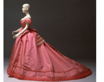 E- Pattern: The Pink Pingat Evening Gown, 1867 (sizes 21-41)