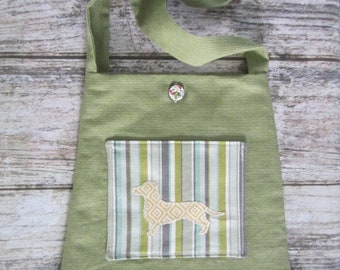Bucket Bag/Tote - green with yellow wiener dog (dachshund) silhouette