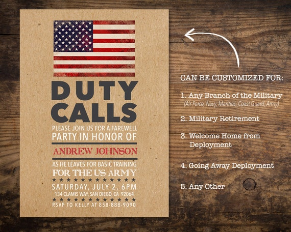 military going away party invitation deployment party etsy