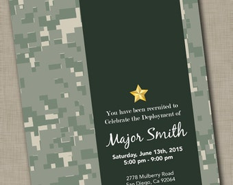 Military Deployment Party Invitation / Basic Training Going Away Party / Welcome Home Party Invitation / Camouflage