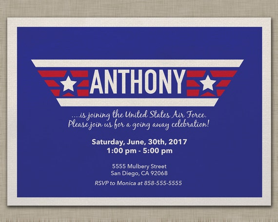 Air Force Invitation Going Away Bootcamp Deployment Retirement Military Navy Party Invitation