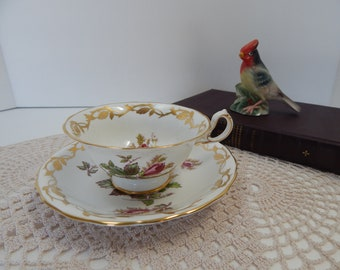 Royal Chelsea Moss Rose tea cup and saucer